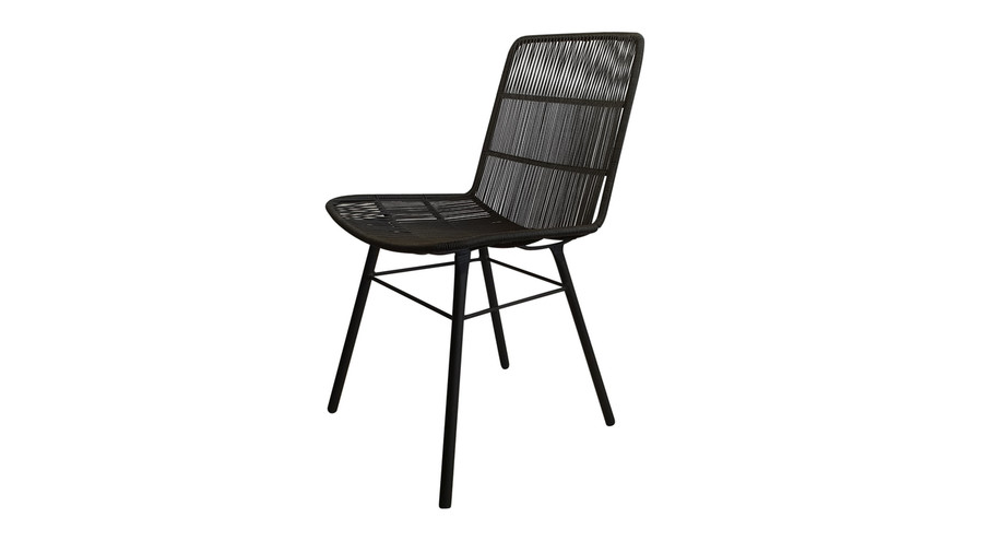 Angled view of Rose outdoor dining side chair in Lava