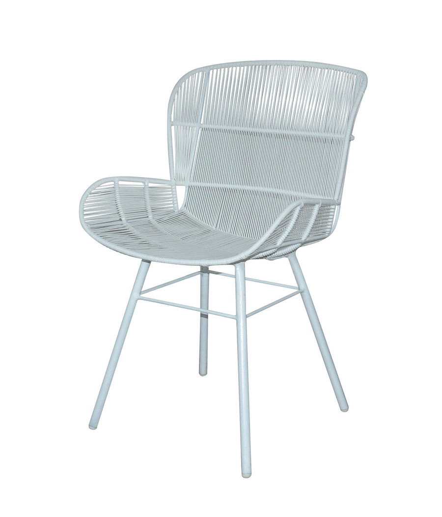 Rose outdoor dining arm chair in Stone White