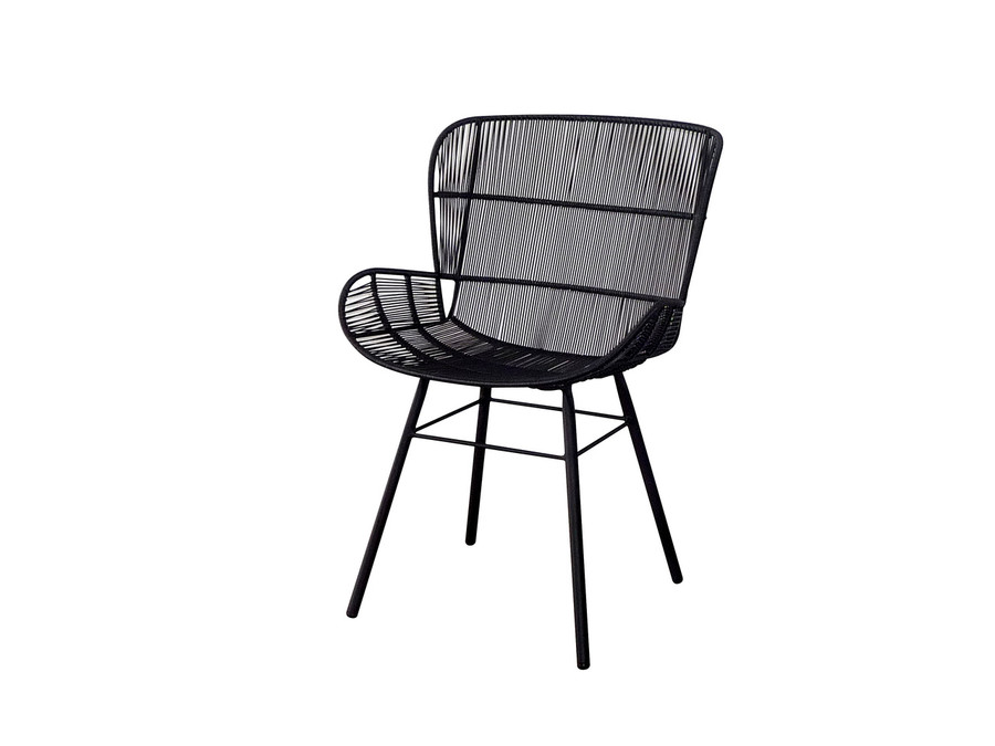 Rose outdoor dining arm chair in Lava