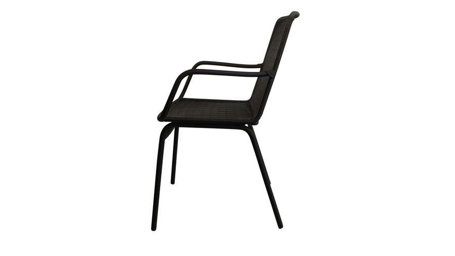 Side view of Felix outdoor dining arm chair in lava