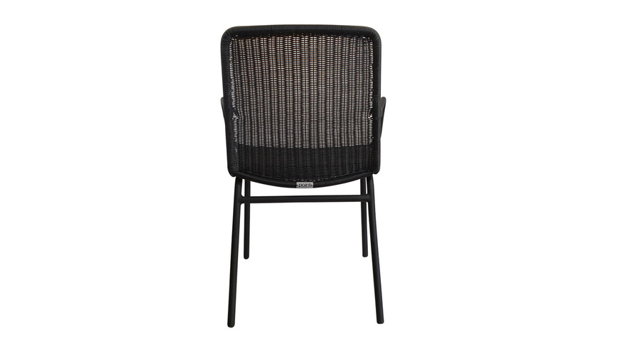 Rear view of Felix outdoor dining arm chair in lava