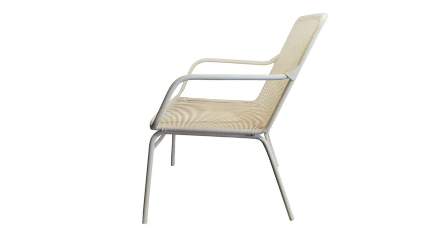 Side view of Felix outdoor low lounge chair in Stone White finish