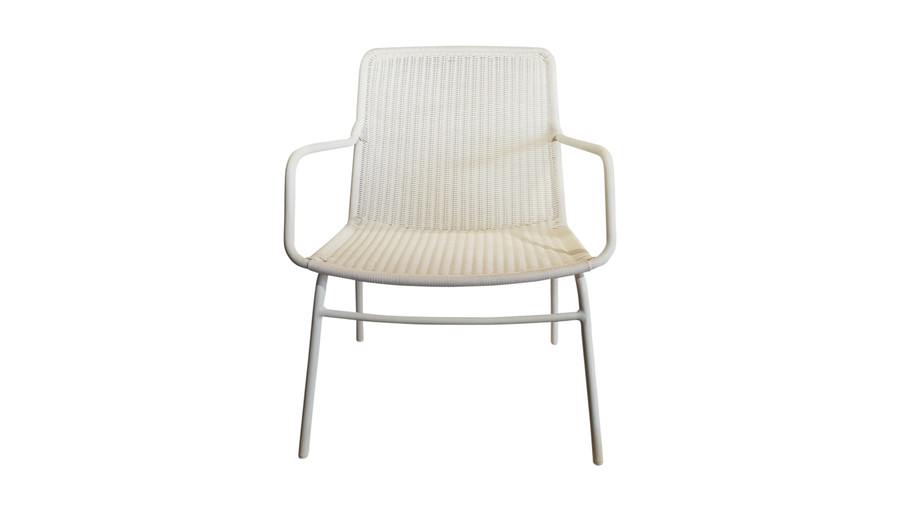 Front view of Felix outdoor low lounge chair in Stone White finish