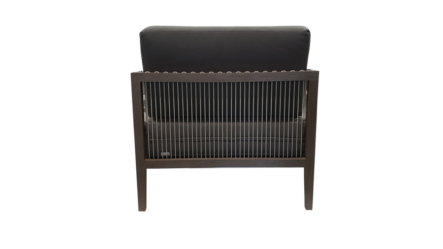 Rear view of Amalfi outdoor low arm chair in teak and cord