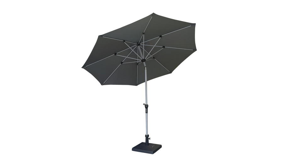 Milan outdoor umbrella in tilted position (only do this when wind is not an issue)