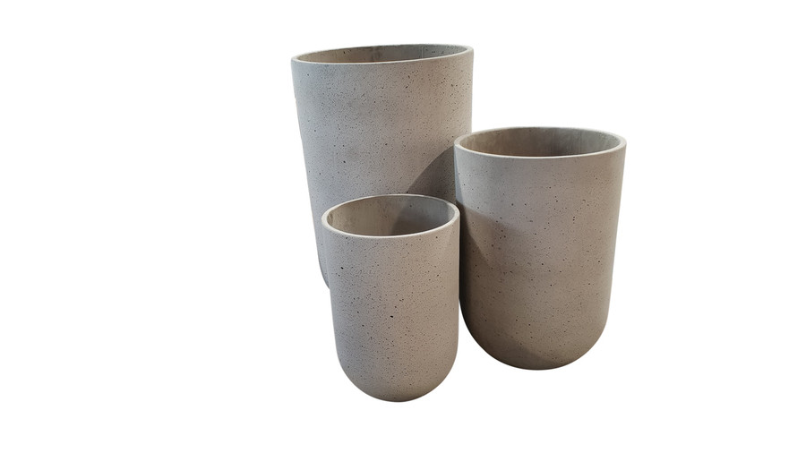 Lime lightweight tall concrete planter pots - Large, medium and small