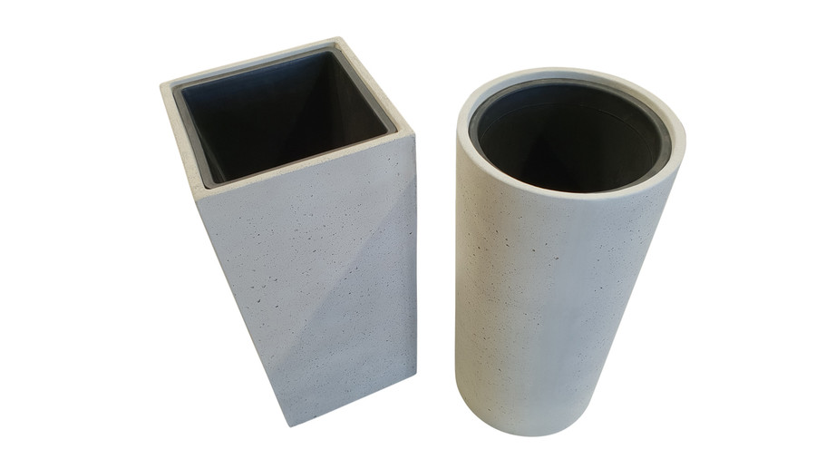 Lime lightweight concrete planter - High - Square with plastic pot. Also shown with round version.
