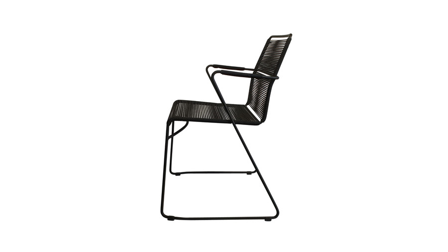 Side view of James dining arm chair in outdoor rope