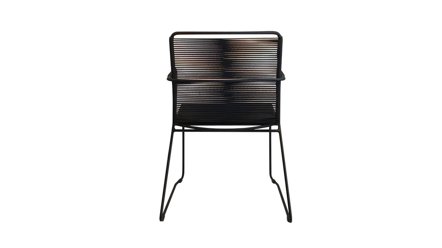 Rear view of James dining arm chair in outdoor rope