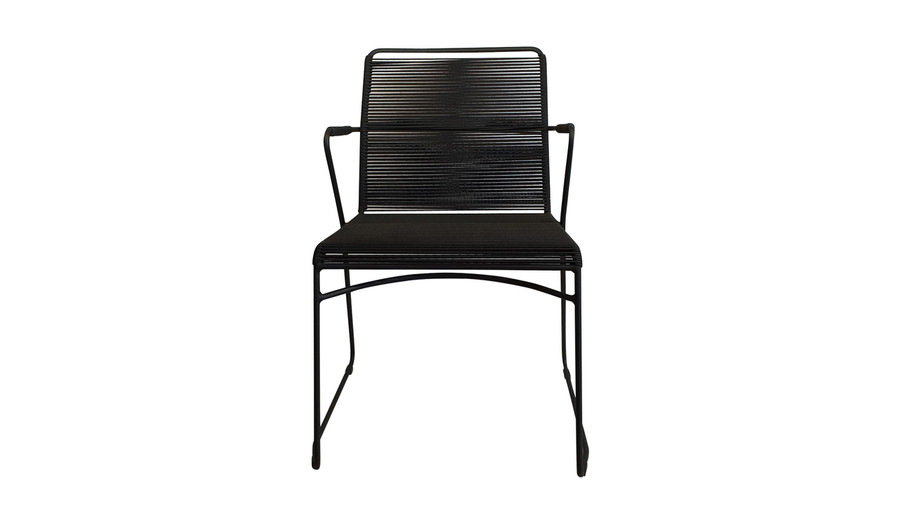 Front view of James dining arm chair in outdoor rope