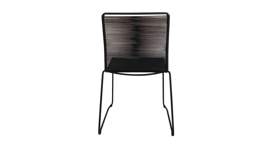 Rear view of James outdoor dining side chair in Lava Rope
