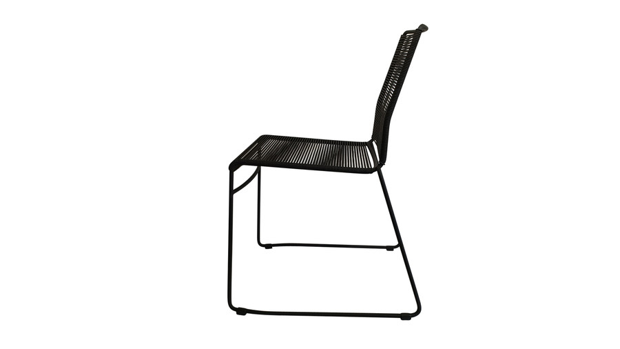 Side view of James outdoor dining side chair in Lava Rope