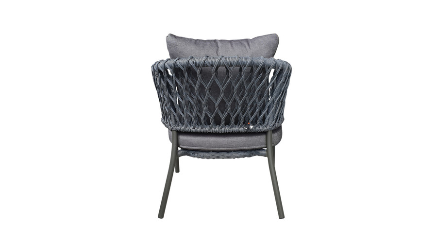 Rear view of Cancun Outdoor Rope-effect Cord And Aluminium Armchair
