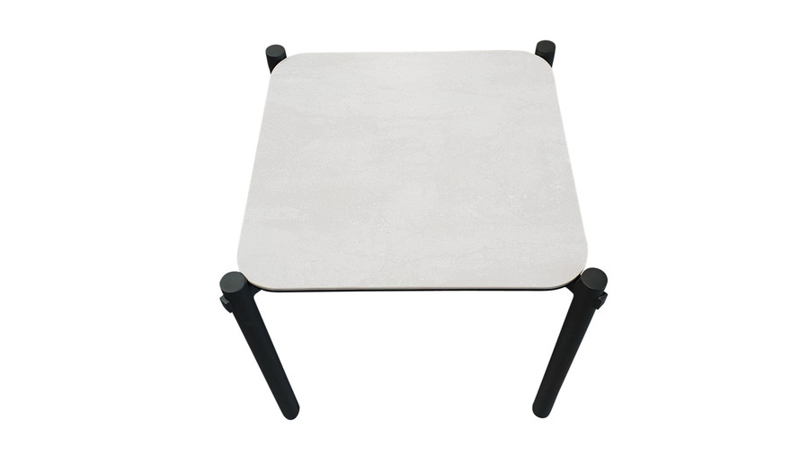 Top view of Cancun ceramic top outdoor aluminium side table
