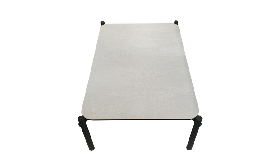 End view of Cancun ceramic and aluminium outdoor coffee table