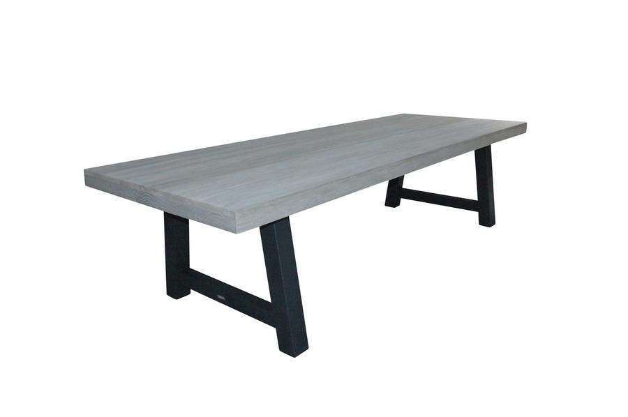 Beach outdoor aged teak table with steel legs