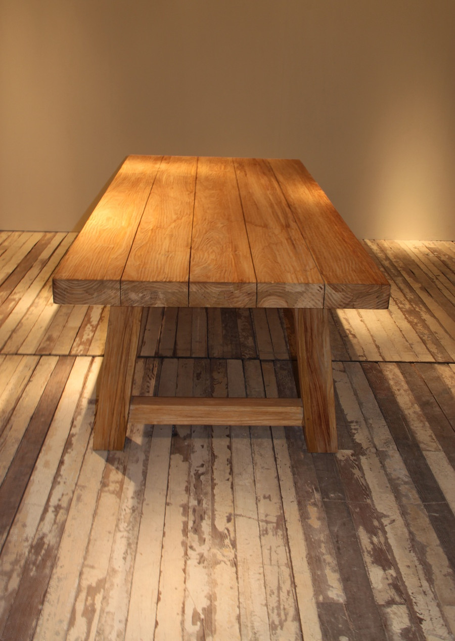 Representative in-situ picture of Block outdoor aged teak table. Original finish