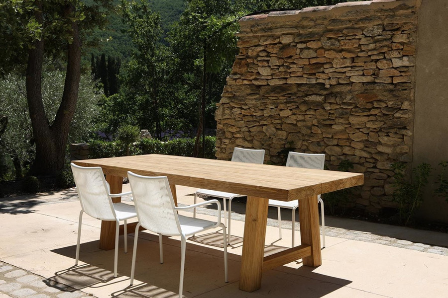 Representative in-situ picture of Block outdoor aged teak table. Original finish