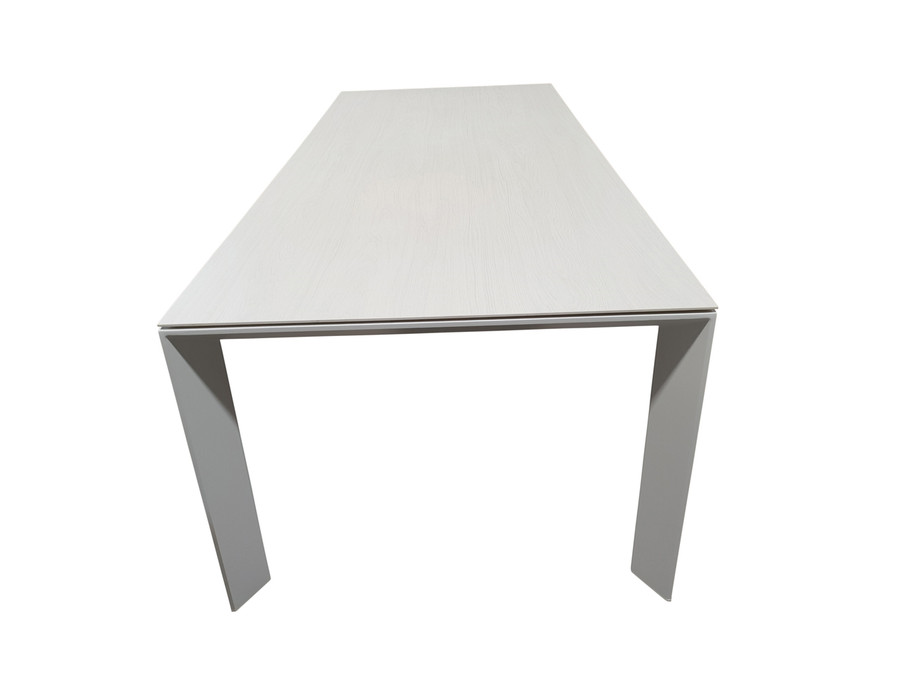 End view of Orlando powder-coated white aluminium outdoor table with ceramic Timber Ice wood grain effect top