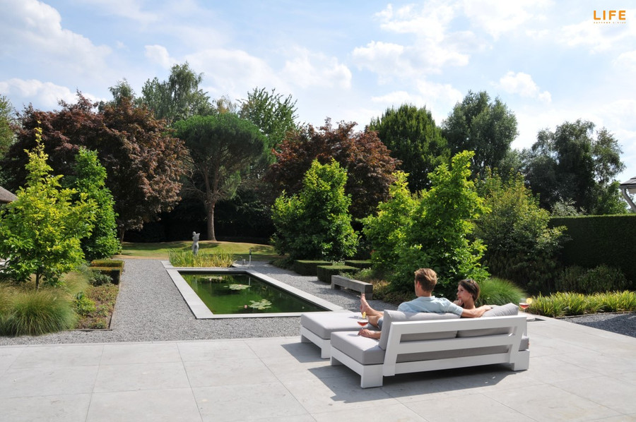 Another view of Cube low sofa. Picture also shows optional bench available separately.