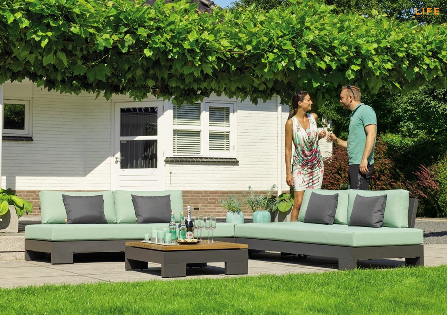 Cube sofa in lava frame. Note picture shows 2 sofas configured.  PLEASE NOTE : CUSHIONS ARE SUPPLIED IN PREMIUM SUNBRELLA NATTE CHARCOAL. Not mint as depicted in image