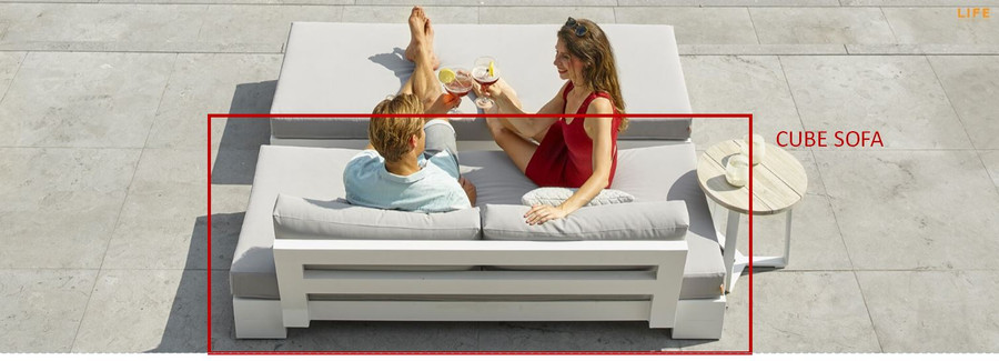 Cube outdoor sofa, as depicted by in the red area. Also shows optional Cube bench.