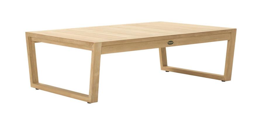 Angle view of Devon Kisbee outdoor teak coffee table
