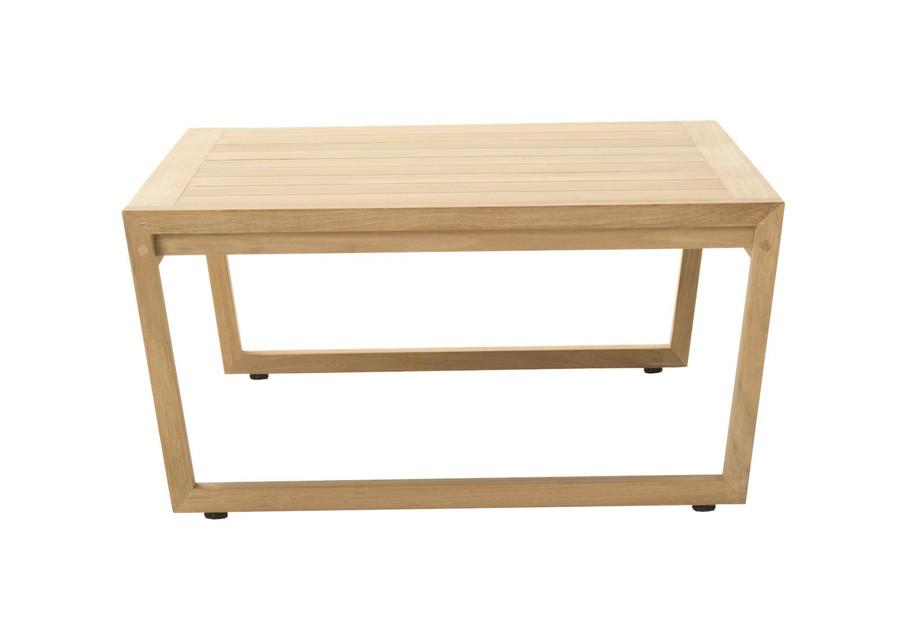 End view of Devon Kisbee outdoor teak coffee table