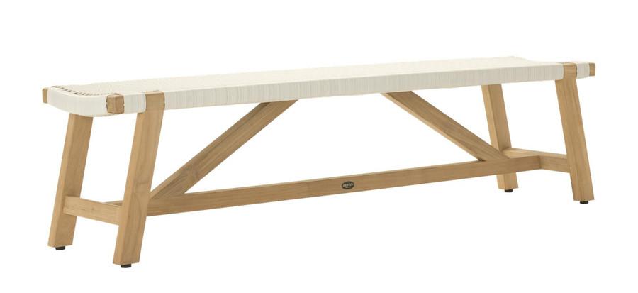 Angle view of Devon Sawyer teak outdoor bench 180cm in whitewash