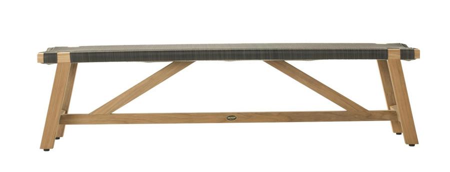 Side view of Devon Sawyer teak outdoor bench 180cm in shadow grey