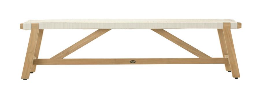 Side view of Devon Sawyer teak outdoor bench 180cm in whitewash