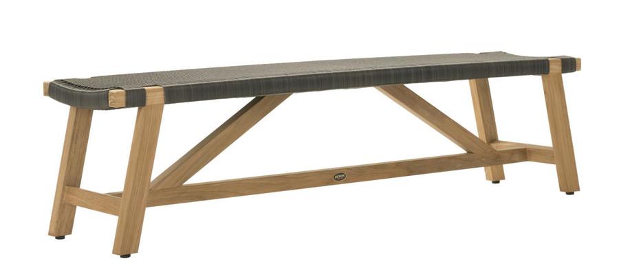 Angle view of Devon Sawyer teak outdoor bench 180cm in shadow grey