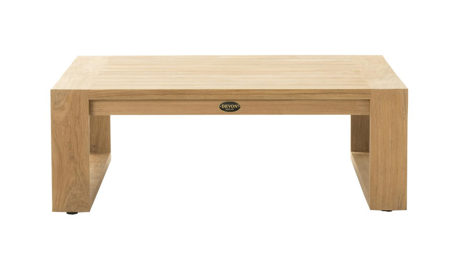 Front view of Devon Milford outdoor teak coffee table