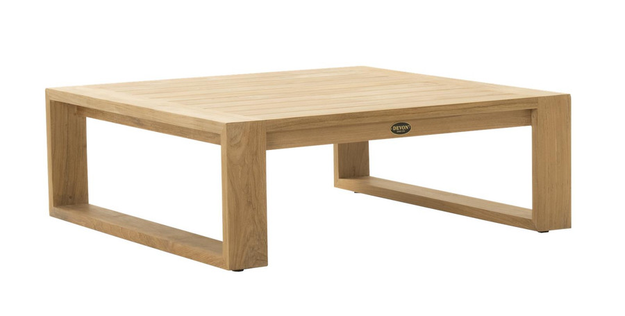 Angle view of devon Milford outdoor teak coffee table