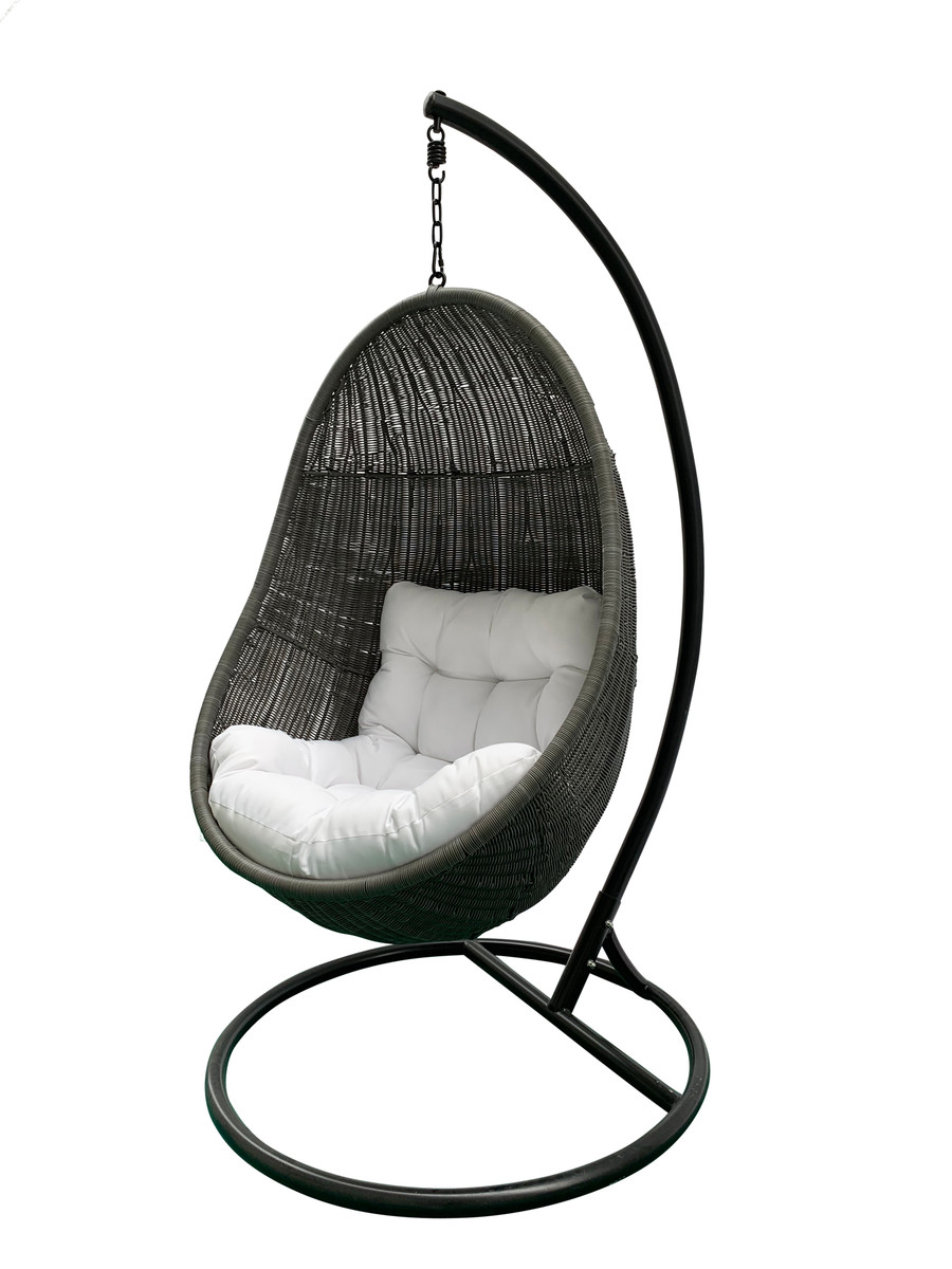 Graphite Grey Ella outdoor hanging chair, with matching black hanging frame