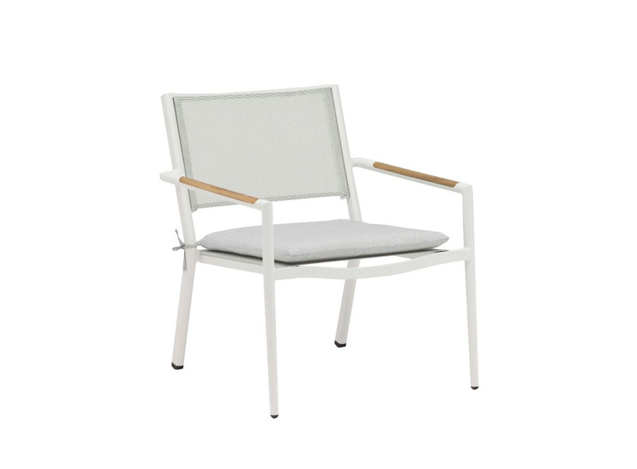 Polo outdoor aluminium lounge chair with white frame. Also shown is the optional seat pad available separately.
