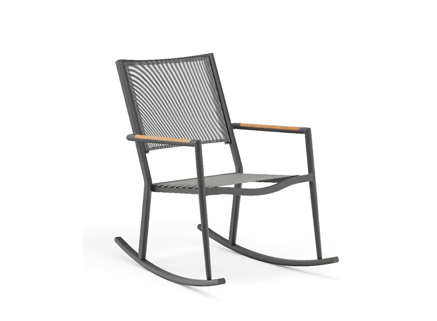 Polo outdoor rocking chair with dark grey frame and optional seat pad