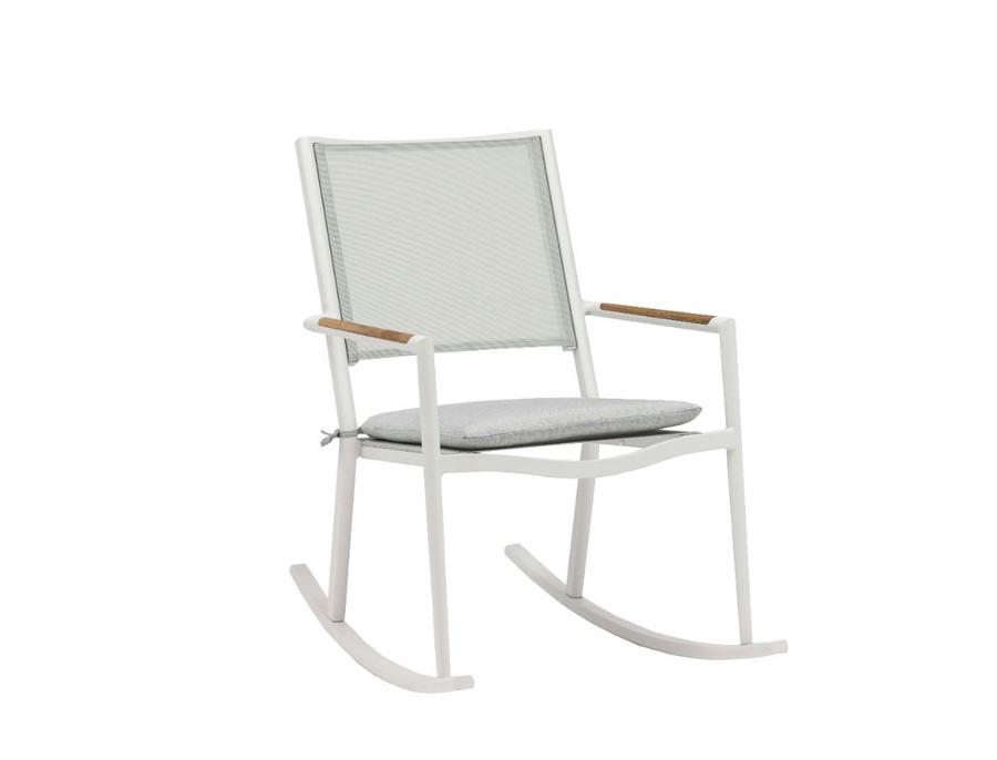 Polo outdoor rocking chair with white frame and optional seat pad