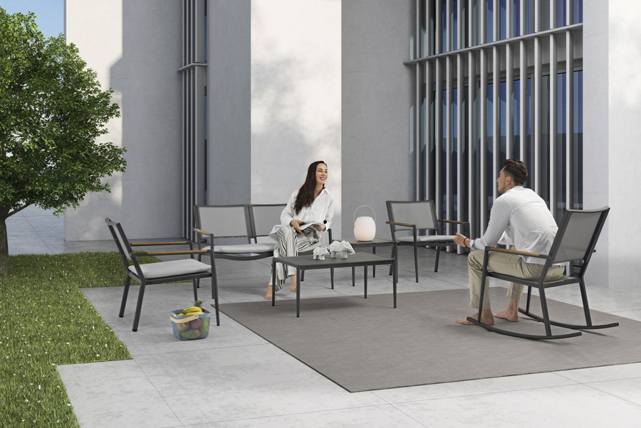 Polo outdoor lounging collection in dark grey
