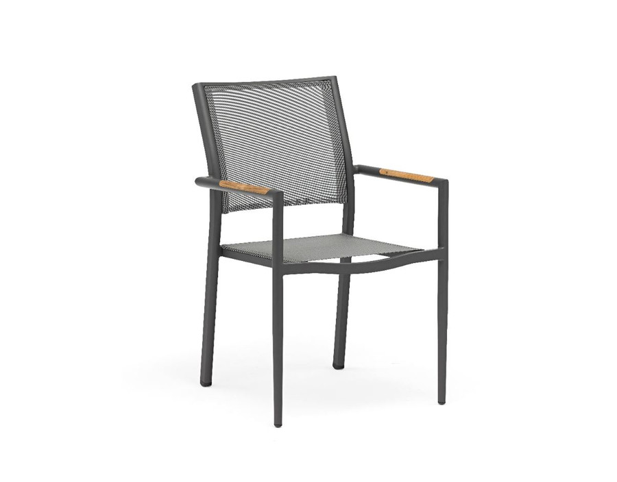 Polo outdoor stackable dining arm chair in dark grey with batyline mesh