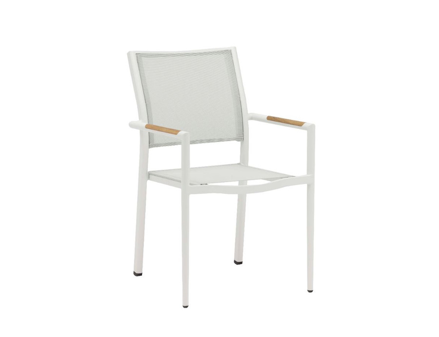 Polo outdoor stackable dining arm chair in white with batyline mesh