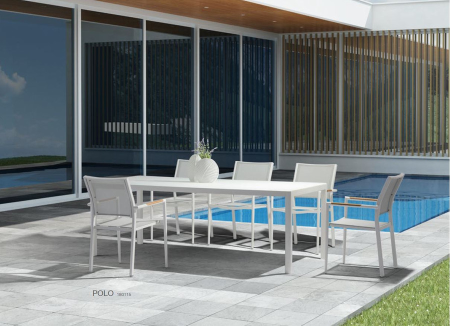 Polo outdoor dining, combining Polo outdoor dining arm chairs and Ella outdoor dining table in white
