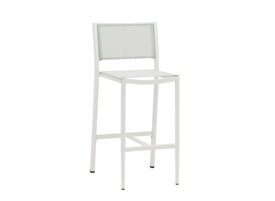 Polo outdoor bar stool in white with batyline mesh