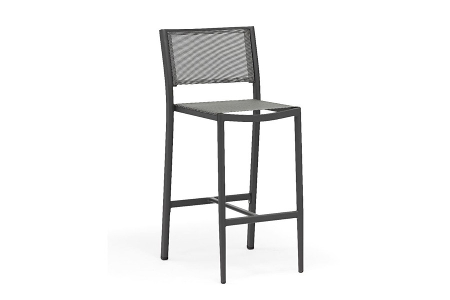 Polo outdoor bar stool in dark grey with batyline mesh