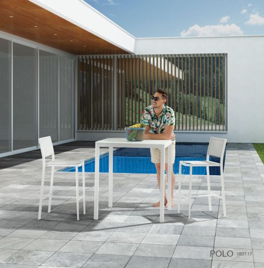 Polo outdoor bar stools with Ella bar table. Please note - our version of the bar table is upgraded to the faux beton concrete HPL top.