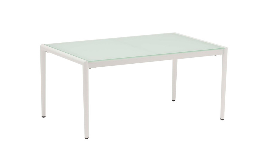 Polo frosted, tempered glass top coffee table with white frame
