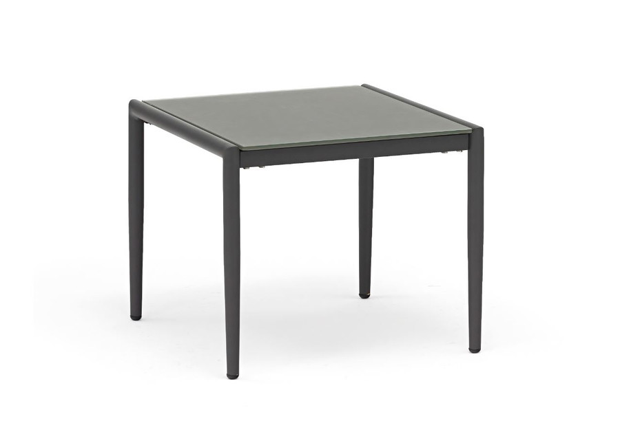 Polo frosted, tempered glass top side table with dark grey frame
