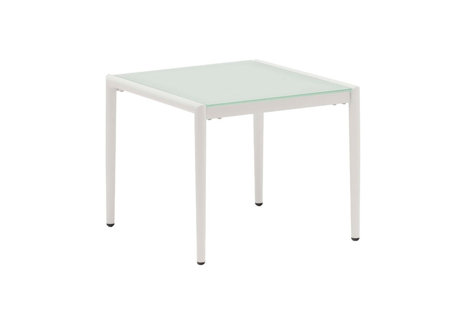 Polo frosted, tempered glass top side table with white frame
