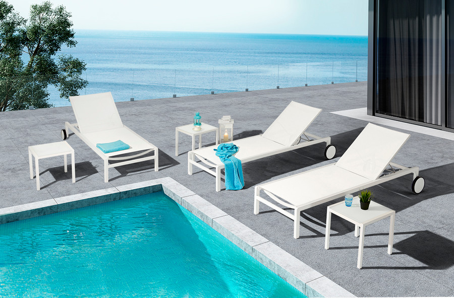 Ella sun lounger in white powder-coated aluminium with Batyline mesh