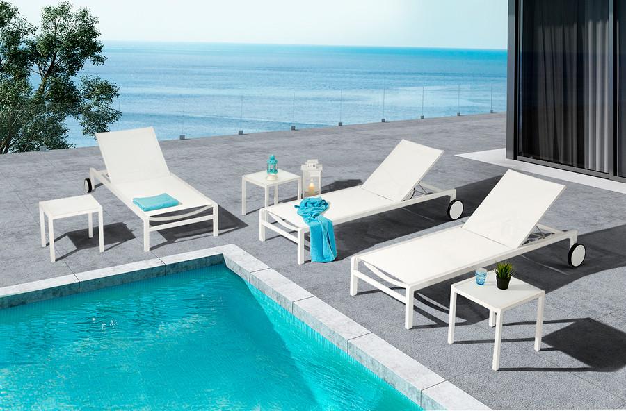 Ella sun lounger in white powder-coated aluminium with Batyline mesh
